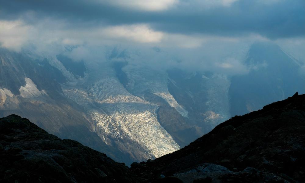 La glacier des bossons au coucher du soleil